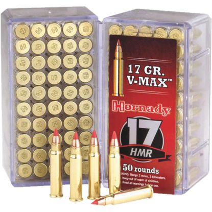 Picture of Hornady V-Max 17 HMR 17 Grain Polymer Tip Rimfire Ammunition Cartridges