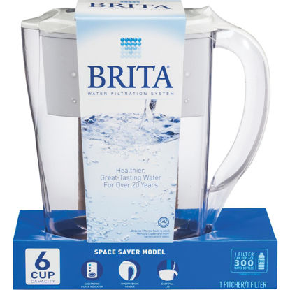 Picture of Brita Space Saver 6-Cup Water Filter Pitcher, White