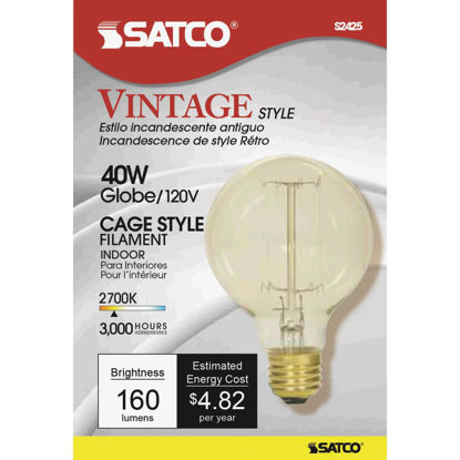 Picture of Satco 40W Clear Soft White Medium Base G25 Vintage Edison Cage Style Filament Incandescent Globe Light Bulb