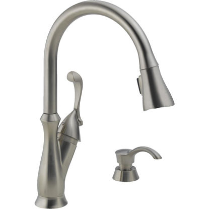 Picture of Delta Arabella Single Handle Lever Pull-Down Kitchen Faucet with Soap Dispenser, Brushed Nickel