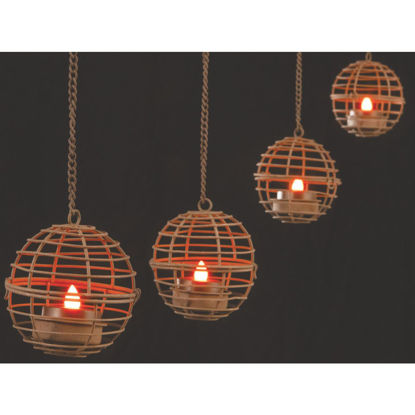 Picture of Gerson 4-Light Brown Wire Hanging Fireball Patio Light Set (4-Pack)