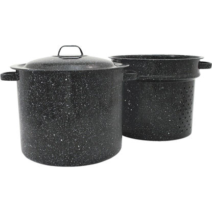 Picture of Columbian GraniteWare 33 Qt. Carbon Steel or Porcelain Black Stockpot