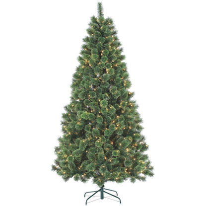 Picture of Gerson 7 Ft. Cashmere Pine 550-Bulb Clear Incandescent Prelit Artificial Christmas Tree