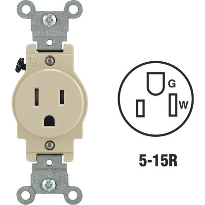Picture of Leviton 15A Ivory Commercial Grade 5-15R Tamper Resistant Single Outlet