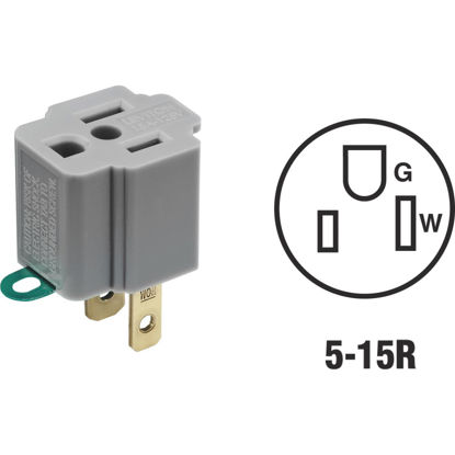 Picture of Leviton 15A 125V Gray Grounding Cube Tap Outlet Adapter (2-Pack)