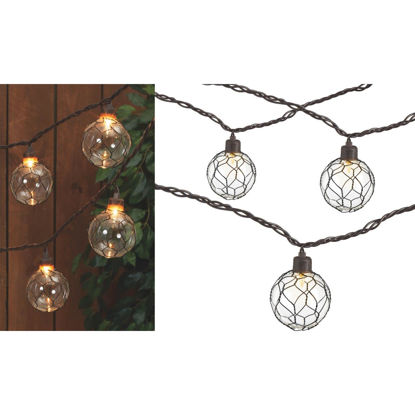 Picture of Gerson 8.5 Ft. 10-Light Clear Black Chicken Wire Globe String Lights