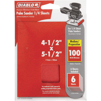 Picture of Diablo Clamp-On 100 Grit 4-1/2 In. x 5-1/2 In. 1/4 Sheet Sandpaper (6-Pack)