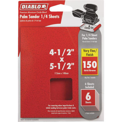 Picture of Diablo Clamp-On 150 Grit 4-1/2 In. x 5-1/2 In. 1/4 Sheet Sandpaper (6-Pack)