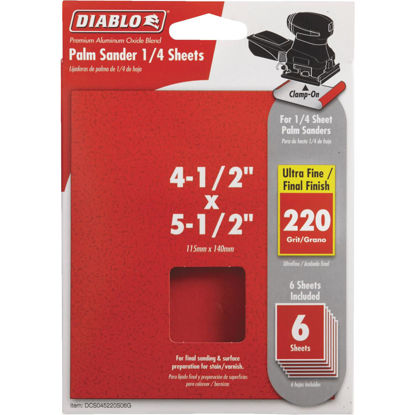Picture of Diablo Clamp-On 220 Grit 4-1/2 In. x 5-1/2 In. 1/4 Sheet Sandpaper (6-Pack)