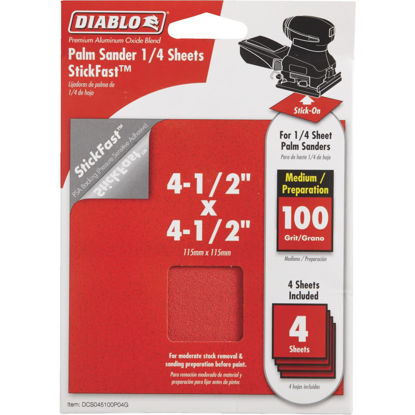 Picture of Diablo StickFast 100 Grit 4-1/2 In. x 4-1/2 In. 1/4 Sheet Sandpaper (4-Pack)