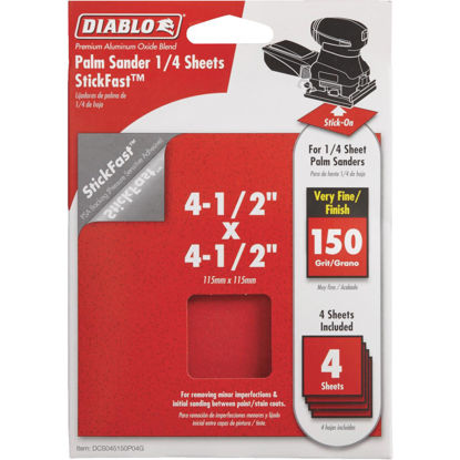 Picture of Diablo StickFast 150 Grit 4-1/2 In. x 4-1/2 In. 1/4 Sheet Sandpaper (4-Pack)