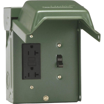 Picture of GE Backyard 20A Green Residential Grade 5-20R GFI Outlet with Switch