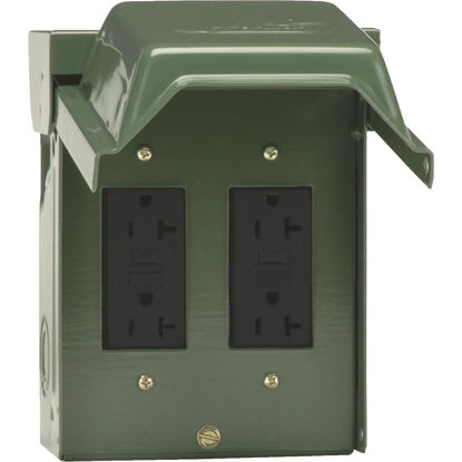 Picture of GE Backyard 20A Green Residential Grade 5-20R GFCI Outlet with 2 Receptacles