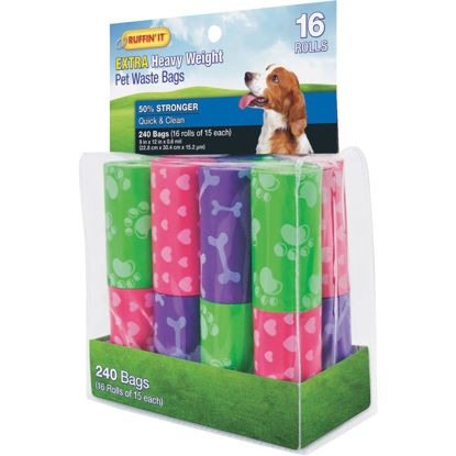 Picture of Ruffin' it 9 In. W. x 12 In. H. Multi-Color Extra Heavy Weight Pet Waste Bag (240-Pack)