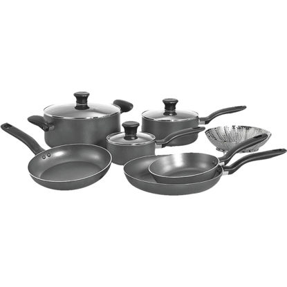 Picture of T-Fal Gray Non-Stick Aluminum Cookware Set (10-Piece)