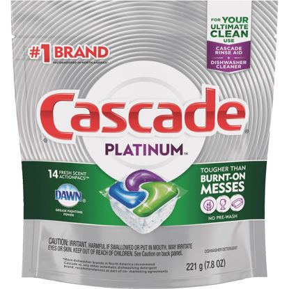 Picture of Cascade Platinum Action Pacs Fresh Dishwasher Detergent Tabs, 14 Ct.