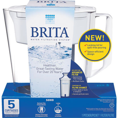 Picture of Brita Soho 5-Cup Water Filter Pitcher, White
