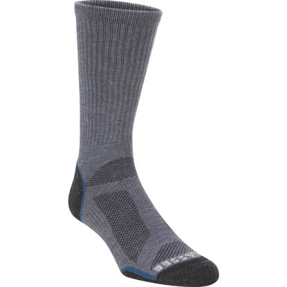 Picture of Hiwassee Trading Company Large Charcoal/Blue Lightweight Performance Tech Crew Sock
