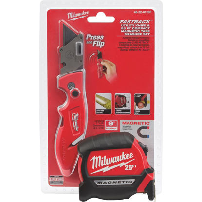 Picture of Milwaukee 25 Ft. Compact Magnetic Tape Measure and FASTBACK Utility Knife Combo Tool Set (2-Piece)