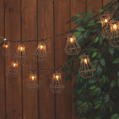 Picture of Everlasting Glow 8.5 Ft. 10-Light White Rustic Cage String Lights