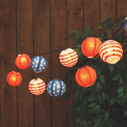 Picture of Everlasting Glow 8.5 Ft. 10-Light Multi-Color Patriotic Lantern String Lights