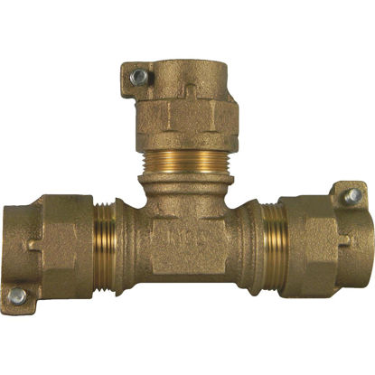 Picture of A Y McDonald 1 In. CTS Polyethylene Pipe Brass Tee