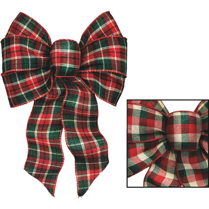 Picture of Holiday Trims 7-Loop 8-1/2 In. W. x 14 In. L. Assorted Plaid Fabric Christmas Bow