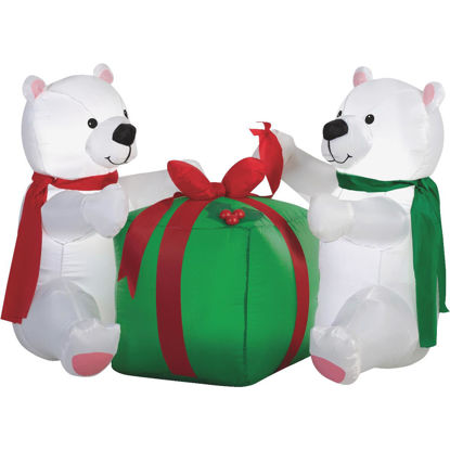 Picture of Gemmy 48 In. W. x 34.6 In. H. Airblown Inflatable Polar Bear Cubs