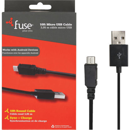 Picture of Fuse 10 Ft. Black Micro USB Charging & Sync Cable