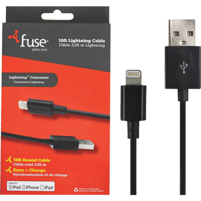 Picture of Fuse 10 Ft. Black Lightning USB Charging & Sync Cable