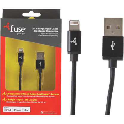 Picture of Fuse 3 Ft. Black Lightning USB Charging & Sync Cable