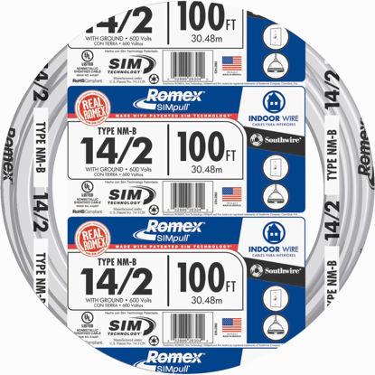 Picture of Romex 100 Ft. 14-2 Solid White NMW/G Wire