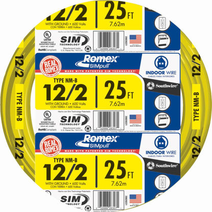 Picture of Romex 25 Ft. 12-2 Solid Yellow NMW/G Wire