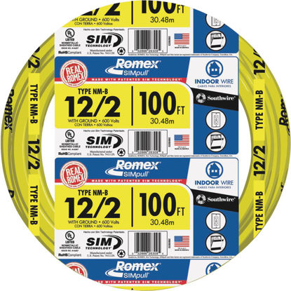 Picture of Romex 100 Ft. 12-2 Solid Yellow NMW/G Wire
