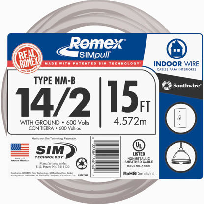 Picture of Romex 15 Ft. 14-2 Solid White NMW/G Wire