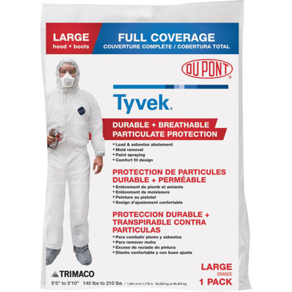 Picture of Dupont Tyvek Large Hooded Reusable Painter's Coveralls
