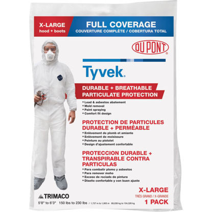 Picture of Dupont Tyvek XL Hooded Reusable Painter's Coveralls