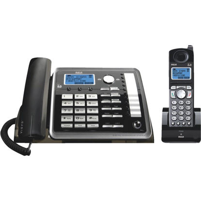 Picture of RCA DECT 6.0 2-Line Black Expandable Corded/Cordless Telephone System