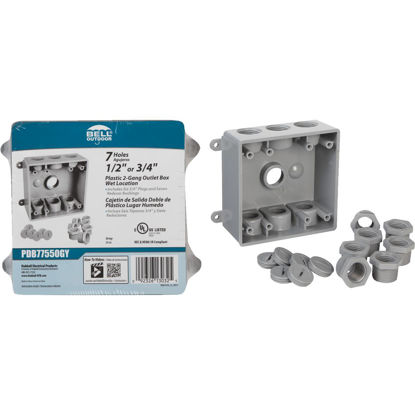 Picture of Bell 2-Gang 1/2 In.,3/4 In. 7-Outlet Gray PVC Weatherproof Outdoor Outlet Box