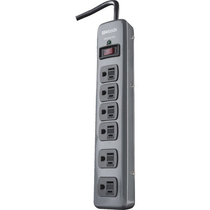 Picture of Woods 6-Outlet 900J Dark Gray Surge Protector Strip with 3 Ft. Cord