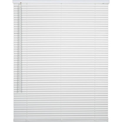 Picture of Home Impressions 25 In. x 64 In. x 1 In. White Vinyl Light Filtering Cordless Mini Blind
