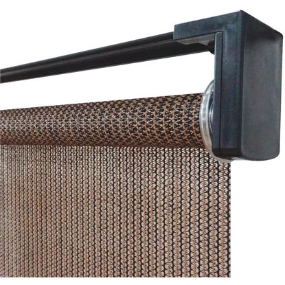 Picture of Home Impressions 30 In. x 72 In. Brown Fabric Indoor/Outdoor Cordless Roller Shade