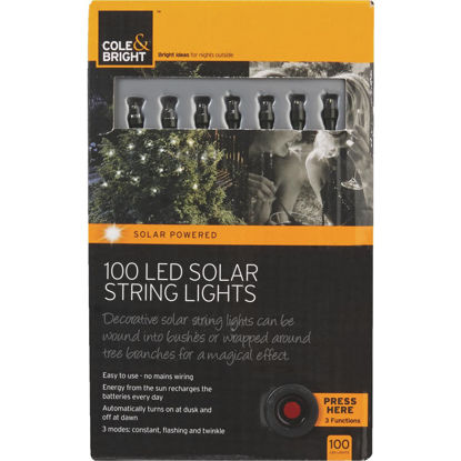 Picture of Cole & Bright 36 Ft. 100-Light White Bulb Solar String Lights