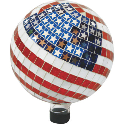 Picture of Alpine 11 In. Glass American Flag Gazing Globe Lawn Ornament
