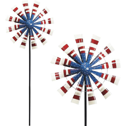 Picture of Alpine 75 In. H. Metal Patriotic Windmill Garden Stake Lawn Ornament