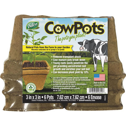 Picture of Dalen CowPots 3 In. W. x 3 In. L. Square Cow Manure Grow Pot (6-Pack)