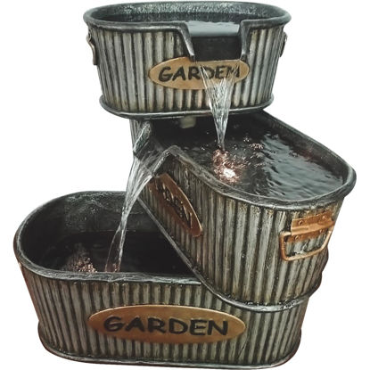 Picture of Alpine 16 In. W. x 20 In. H. x 19 In. L. Polyresin 3-Tier Garden Tin Fountain