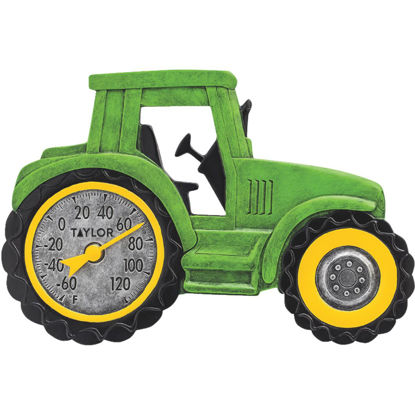 Picture of Taylor SpringField 14 In. x 9.5 In. Green Tractor Indoor & Outdoor Thermometer