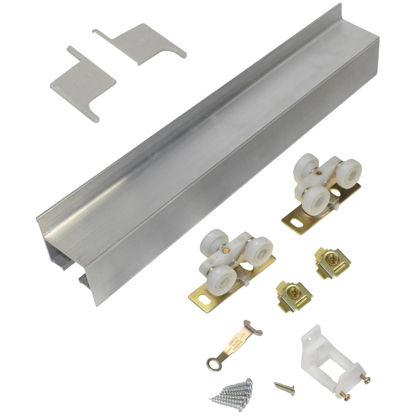 Picture of Johnson Hardware Mill Aluminum Steel Wall Mount Barn Door Hardware Kit