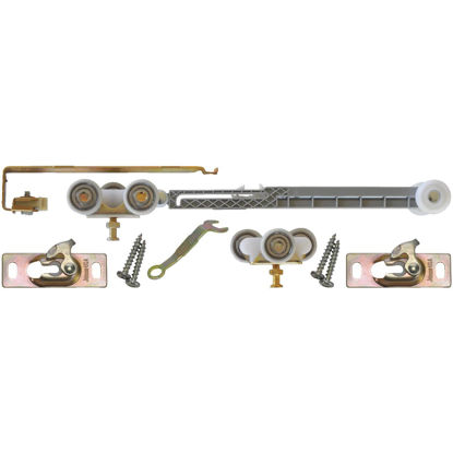 Picture of Johnson Hardware Mill Aluminum Steel Soft Close Barn Door Hardware Kit